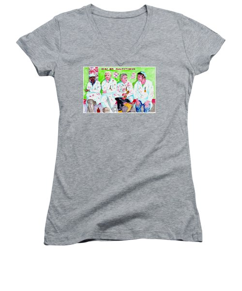 Lunch At The Slaughter House Women's V-Neck T-Shirt (Junior Cut)