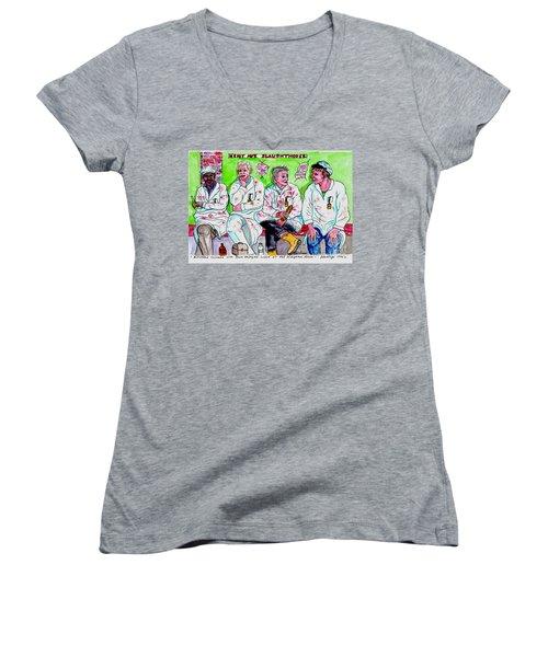 Lunch Break At The Slaughter House Women's V-Neck T-Shirt (Junior Cut)
