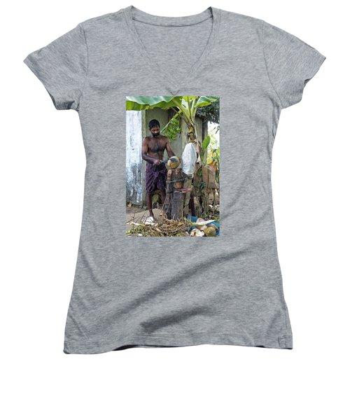 Women's V-Neck T-Shirt (Junior Cut) featuring the photograph Lunch by Marion Galt