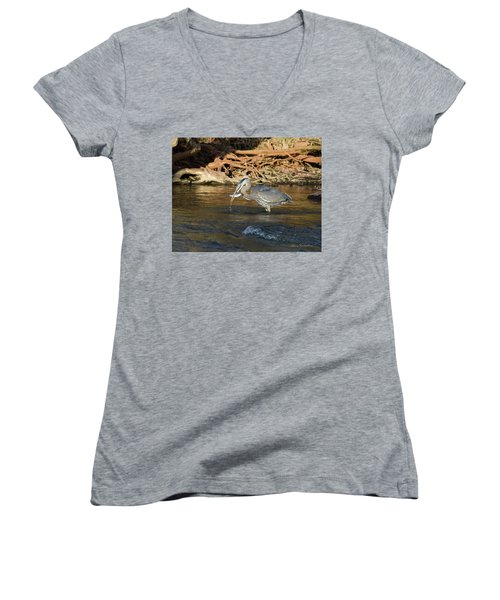 Lunch On The Neuse River Women's V-Neck T-Shirt (Junior Cut) by George Randy Bass