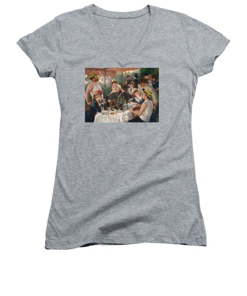 Luncheon Of The Boating Party By Renoir Women's V-Neck
