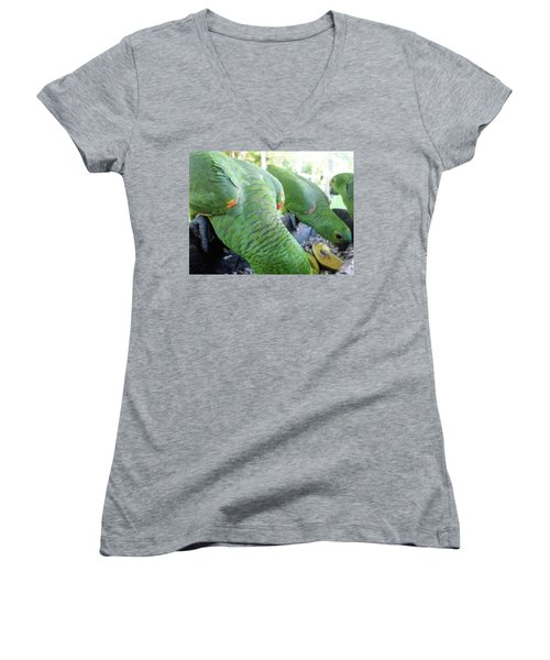 Women's V-Neck T-Shirt (Junior Cut) featuring the photograph Lunchtime by Beto Machado