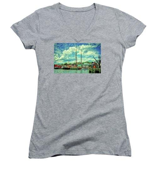 Lunenburg Harbor Women's V-Neck T-Shirt (Junior Cut) by Rodney Campbell