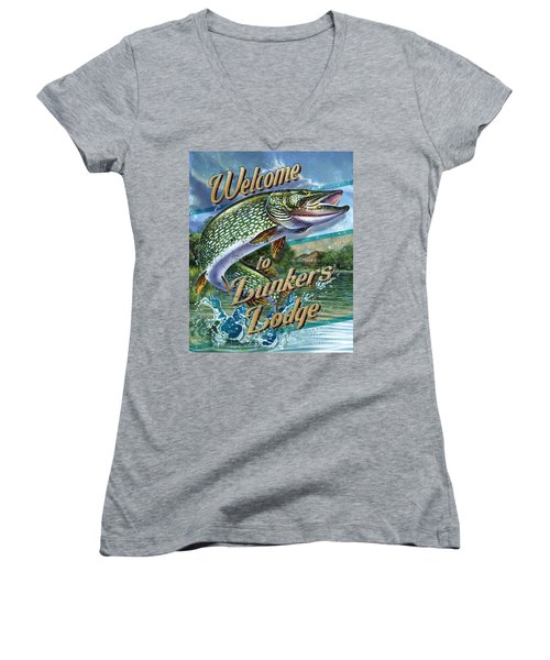Lunkers Lodge Sign Women's V-Neck T-Shirt (Junior Cut) by Jon Q Wright