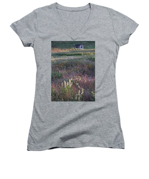 Women's V-Neck T-Shirt (Junior Cut) featuring the photograph Lupine by Laurie Stewart