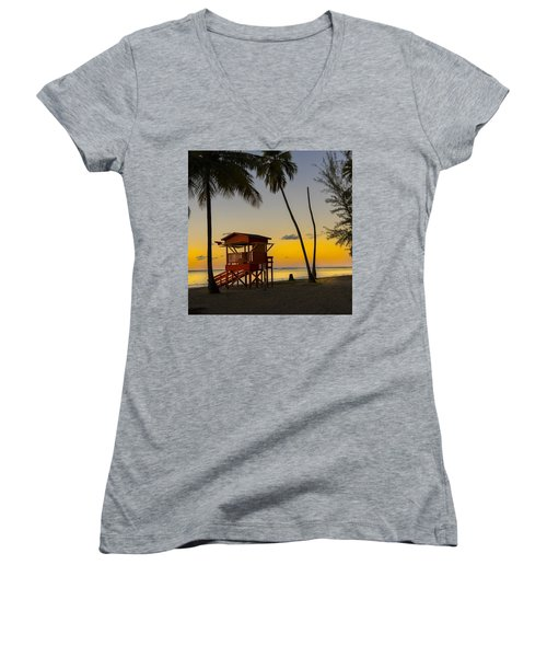 Luquillo Sunset  Women's V-Neck (Athletic Fit)