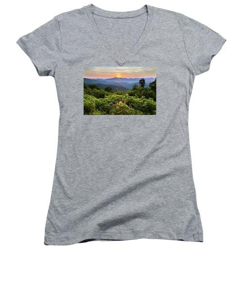 Lush Sunset In June Women's V-Neck T-Shirt (Junior Cut) by Deborah Scannell