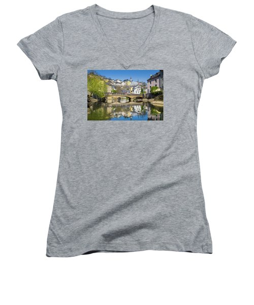 Luxembourg City Women's V-Neck T-Shirt (Junior Cut) by JR Photography