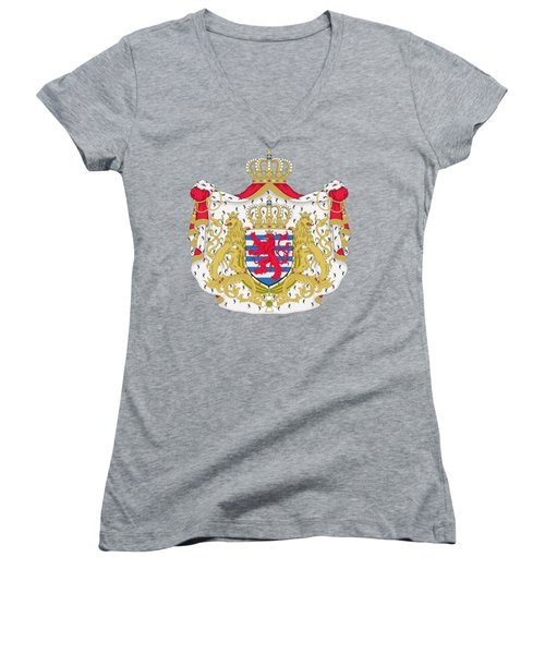 Women's V-Neck T-Shirt (Junior Cut) featuring the drawing Luxembourg Coat Of Arms by Movie Poster Prints
