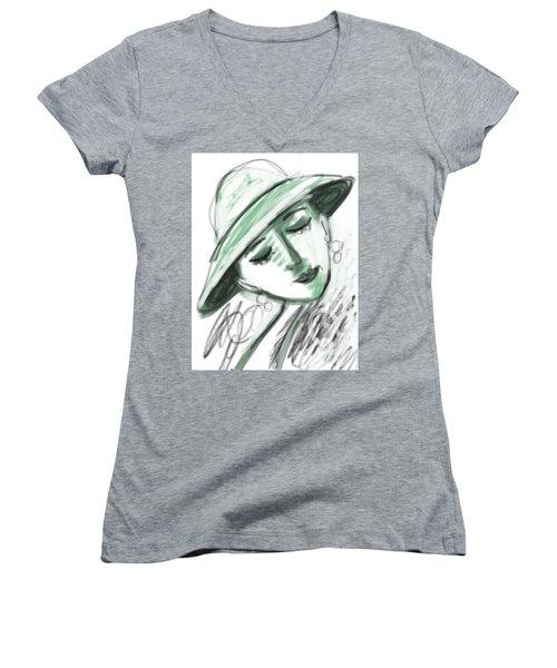 Lydia Women's V-Neck T-Shirt (Junior Cut) by Elaine Lanoue