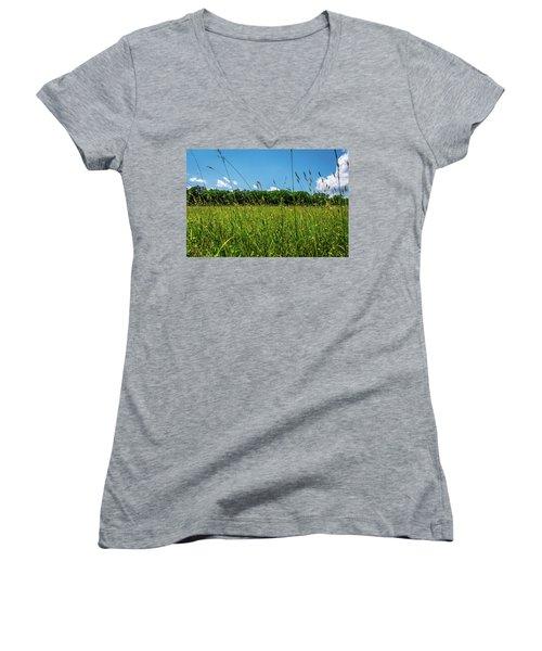 Lying In The Grass Women's V-Neck