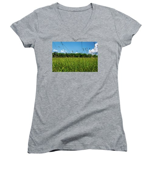 Lying In The Grass Women's V-Neck