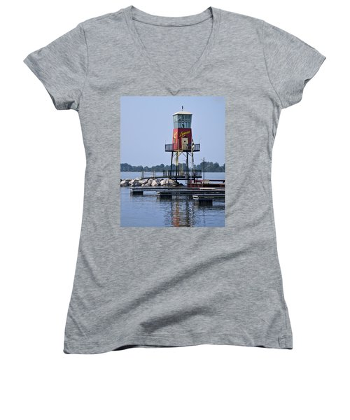 Women's V-Neck featuring the photograph Lyman Harbor Lighthouse by Dale Kincaid