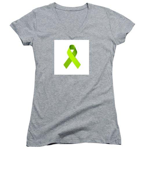 Lyme Disease Awareness Ribbon  Women's V-Neck