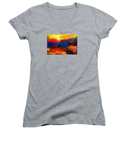 Lyrical Landscape Women's V-Neck T-Shirt (Junior Cut) by Diana Riukas