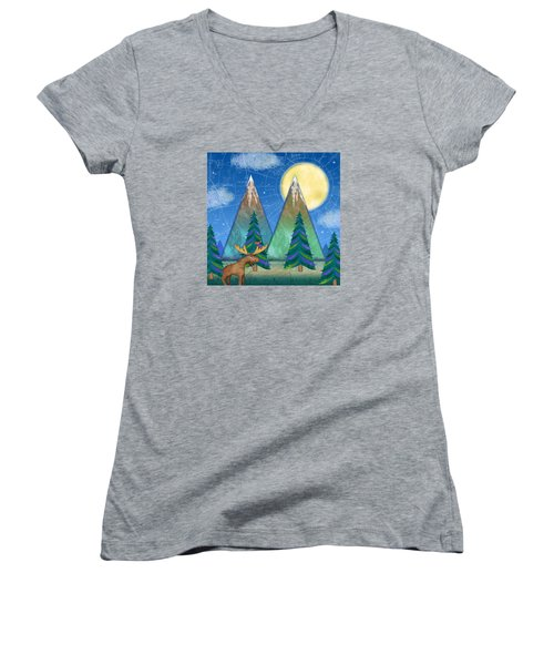 M Is For Mountains And Moon Women's V-Neck