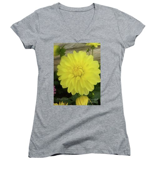 M Shades Of Yellow Flowers Collection No. Y90 Women's V-Neck
