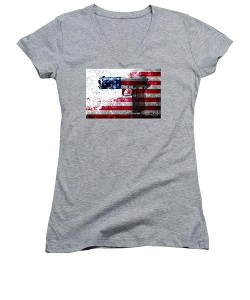 M1911 Colt 45 And American Flag On Distressed Metal Sheet Women's V-Neck T-Shirt (Junior Cut) by M L C