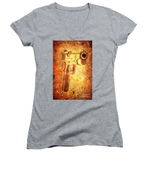 M1911 Muzzle On Rusted Background 3/4 View Women's V-Neck T-Shirt (Junior Cut) by M L C