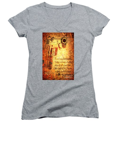 M1911 Pistol And Second Amendment On Rusted Overlay Women's V-Neck T-Shirt (Junior Cut) by M L C