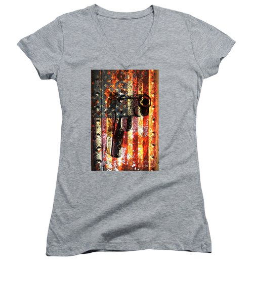 M1911 Silhouette On Rusted American Flag Women's V-Neck T-Shirt