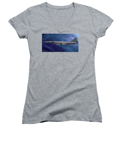 Women's V-Neck T-Shirt (Junior Cut) featuring the painting M50 Myasishchev  by Michael Cleere