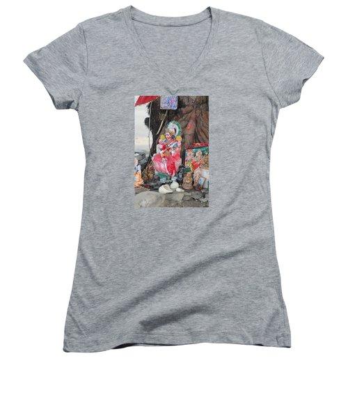 Ma Durga Tree Temple, Haridwar Women's V-Neck T-Shirt (Junior Cut) by Jennifer Mazzucco