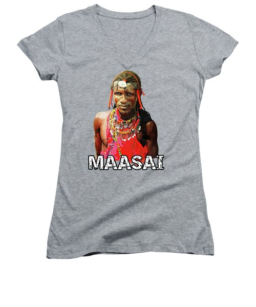 Maasai Moran Women's V-Neck T-Shirt (Junior Cut) by Anthony Mwangi