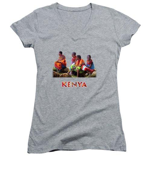 Women's V-Neck T-Shirt (Junior Cut) featuring the painting Maasai Women by Anthony Mwangi