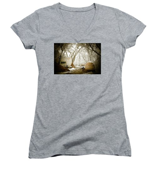 Women's V-Neck T-Shirt (Junior Cut) featuring the photograph Mabel Luhan Dodge Home Exterior by Marilyn Hunt