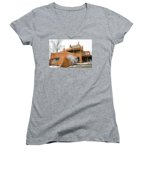 Women's V-Neck T-Shirt (Junior Cut) featuring the photograph Mabel Luhan Dodge House 1 by Marilyn Hunt
