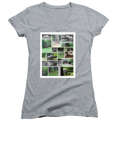 Mabry Mill Women's V-Neck T-Shirt (Junior Cut) by Eric Liller