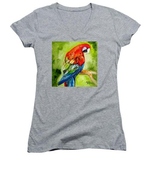 Macaw Tropical Women's V-Neck
