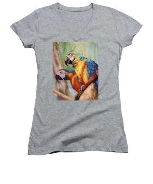 Macaws In The Sunshine Women's V-Neck