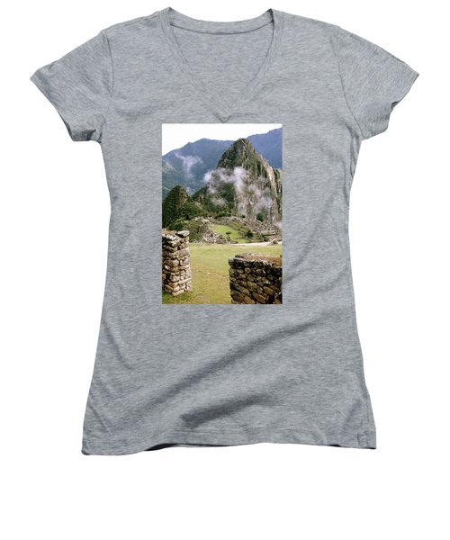 Machu Picchu In The Morning Light Women's V-Neck (Athletic Fit)