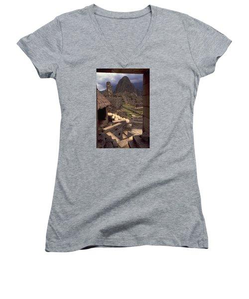 Women's V-Neck T-Shirt (Junior Cut) featuring the photograph Machu Picchu by Travel Pics