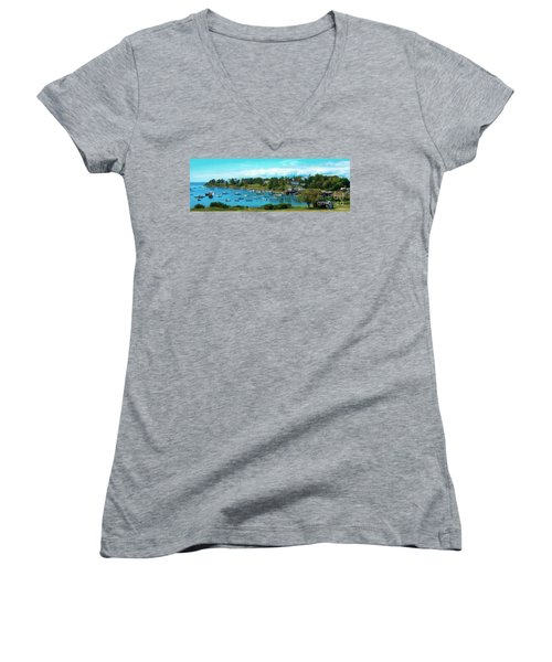 Mackerel Cove On Bailey Island Women's V-Neck T-Shirt