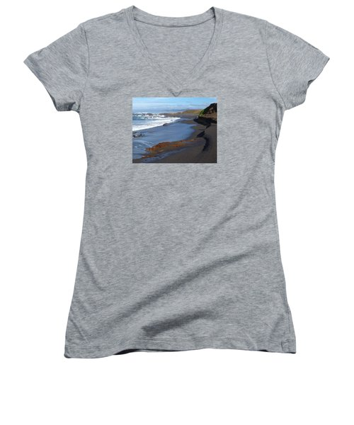 Mackerricher Beach Coastline Women's V-Neck T-Shirt (Junior Cut) by Amelia Racca