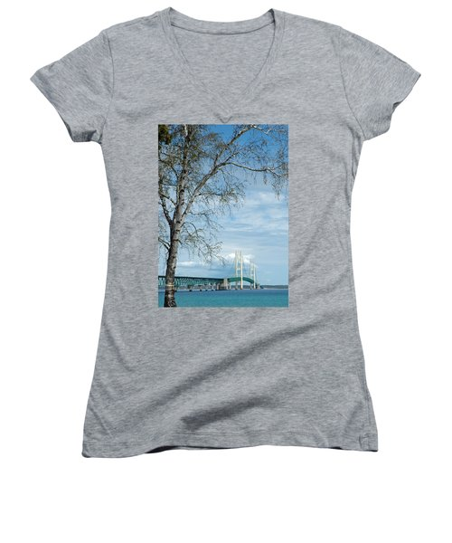 Mackinac Bridge Birch Women's V-Neck T-Shirt