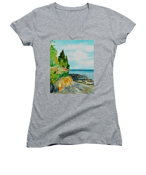 Mackworth Island Maine  Women's V-Neck (Athletic Fit)