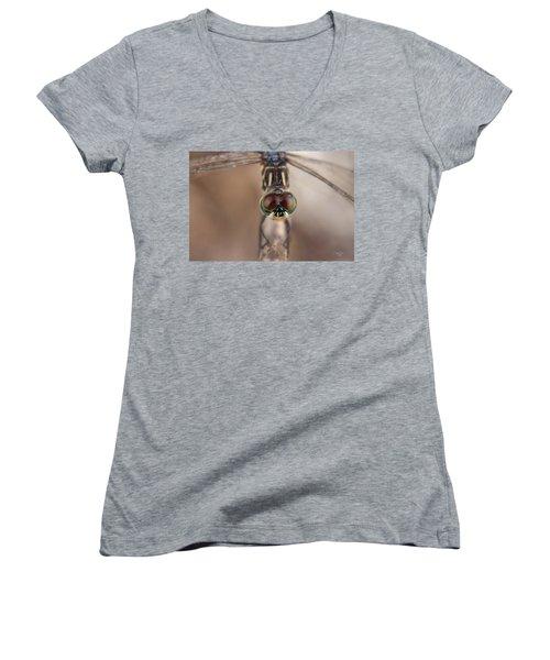 Macro Dragonfly Women's V-Neck