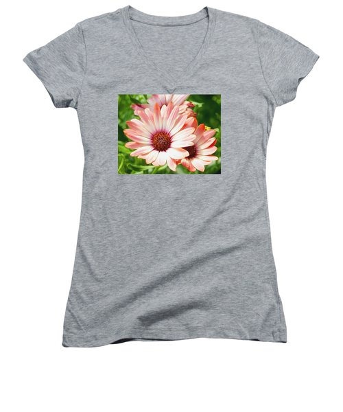 Macro Pink Cinnamon Tradewind Flower In The Garden Women's V-Neck (Athletic Fit)