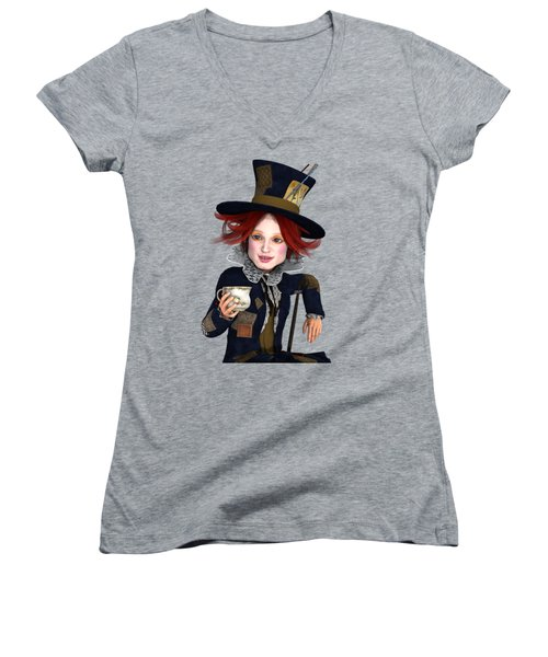 Mad Hatter Portrait Women's V-Neck T-Shirt (Junior Cut) by Methune Hively
