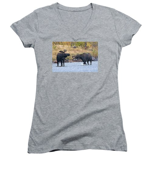 Mad Mamma Moose Women's V-Neck (Athletic Fit)