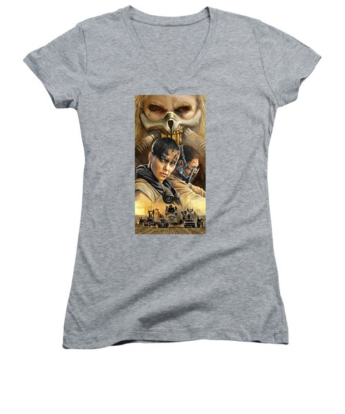 Women's V-Neck T-Shirt (Junior Cut) featuring the painting Mad Max Fury Road Artwork by Sheraz A