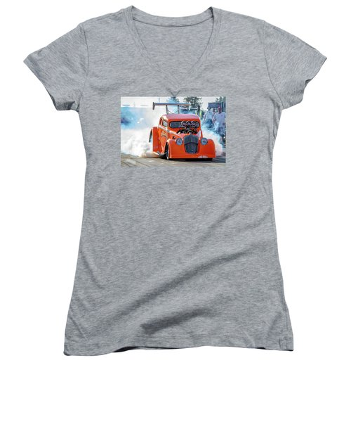 Women's V-Neck T-Shirt (Junior Cut) featuring the photograph Mad Mike Racing by Bill Gallagher