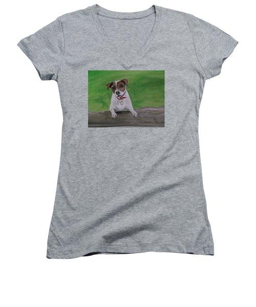 Maddie Women's V-Neck T-Shirt (Junior Cut) by Carole Robins