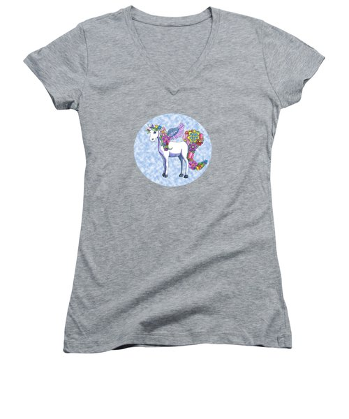 Madeline The Magic Unicorn 2 Women's V-Neck T-Shirt (Junior Cut) by Shelley Wallace Ylst