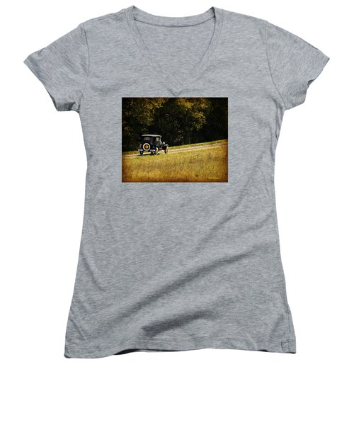 Madison County Back Roads-ford Women's V-Neck T-Shirt (Junior Cut) by Kathy M Krause