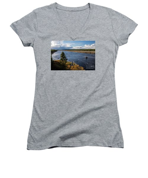 Madison River In Yellowstone National Park Women's V-Neck T-Shirt (Junior Cut) by Cindy Murphy - NightVisions